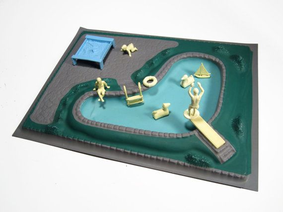 Vintage 1960's Marx Dollhouse Swimming Pool by PieInTheSkyVintage, $83.00