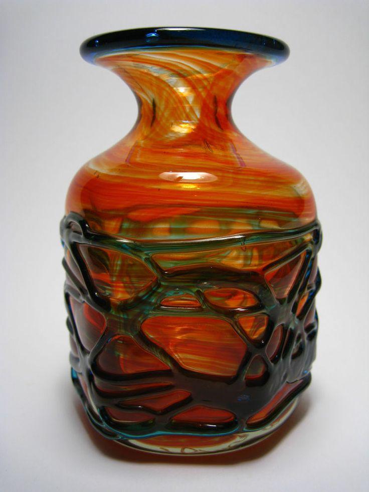 Mdina Art Glass Vase Malta signiert Michael Harris Glas Loetz modern Kralik