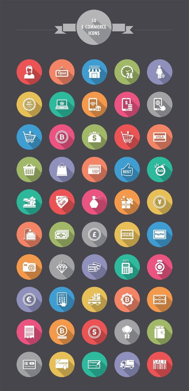 50 Free Flat E-Commerce Icons