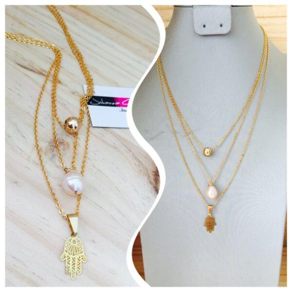 Trio de cadenas en baño en oro y perla cultivada ! Envíos a cualquier ciudad 3115568146 diseños exclusivos solo aquí en Accesorios Johanna Gómez