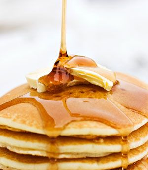 It's National Pancake Day! Cut the calories and fat with this lip-smacking stack. #pancakes