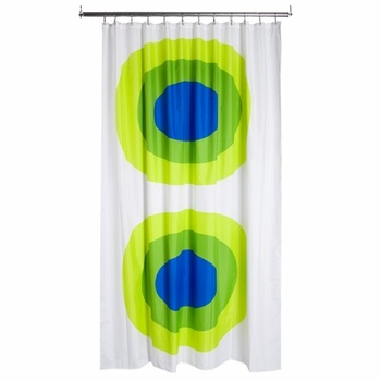 Marimekko Melooni Green/Blue Long Polyester Shower Curtain - Click to enlarge