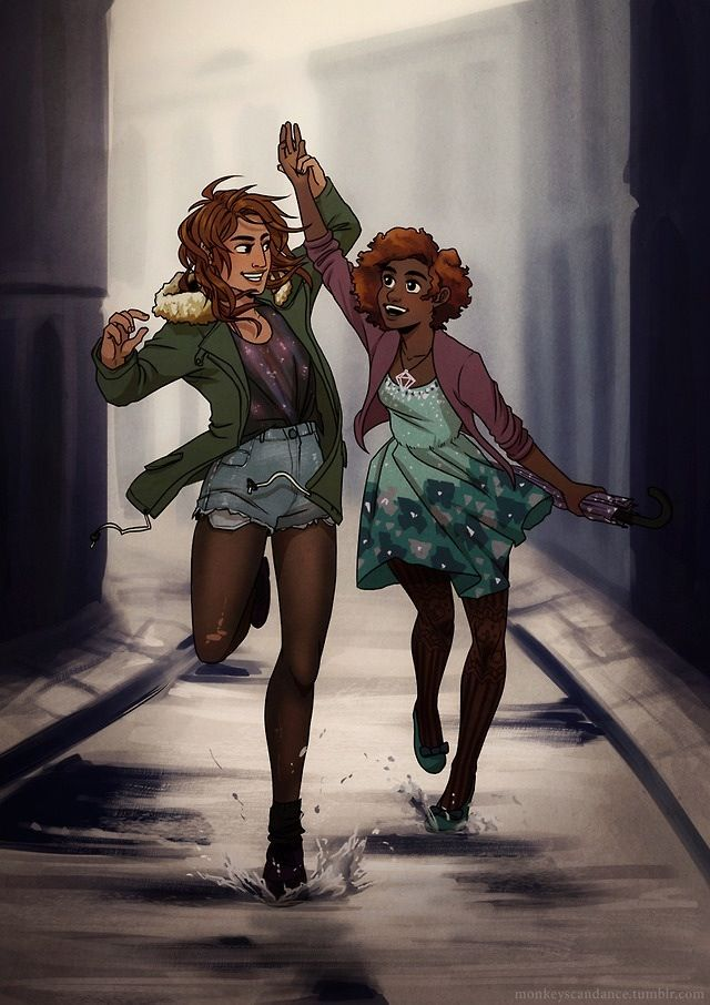 Piper Mclean and Hazel Levesque-- I love the art style, but what is up with Hazel's hair??