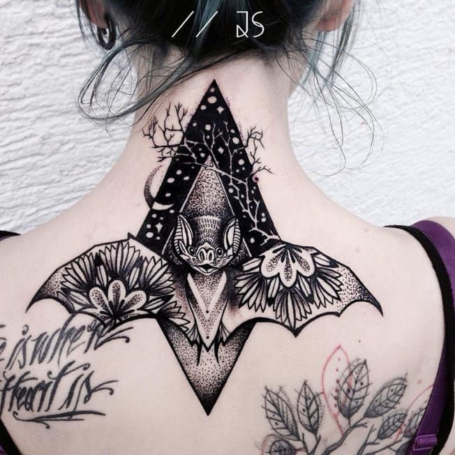 Bright colours and thick, bold, black line-work makes Jessica Svartvit's tattoos stand out from the crowd.