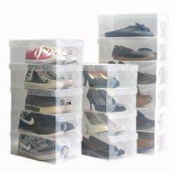 Les Boîtes de stockage sont résistantes et en polypropylène transparent. Gardez vos chaussures et bottes organisées, sans poussière et complètement visibles Lot de 15 boites - dimensions : 30 x 18 x 10 cm