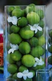 Cocktail hour or reception decor! Love the limes for a Key West wedding.