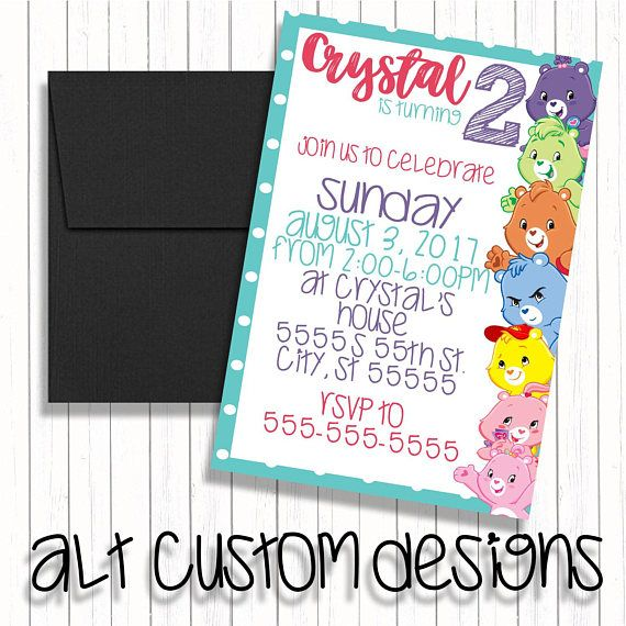 122 best Birthday invitations images – Care Bear Birthday Invitations