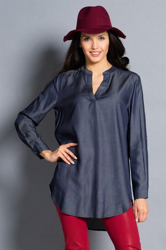 FINAL SALE. 100% Rayon This v-neck dark denim tunic is a must have in every wardrobe. Pair with leggings or colored denim for a polished look. Sizing: This tunic runs true to size. Small (2/4), Medium