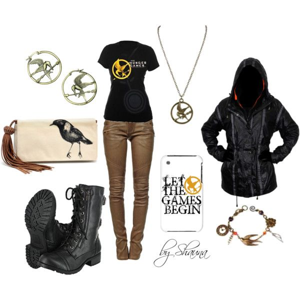 The Hunger Games :-) Ok, they went a little overboard with the mockingjay, but I like the pants,shirt,boots,jacket,and necklace.