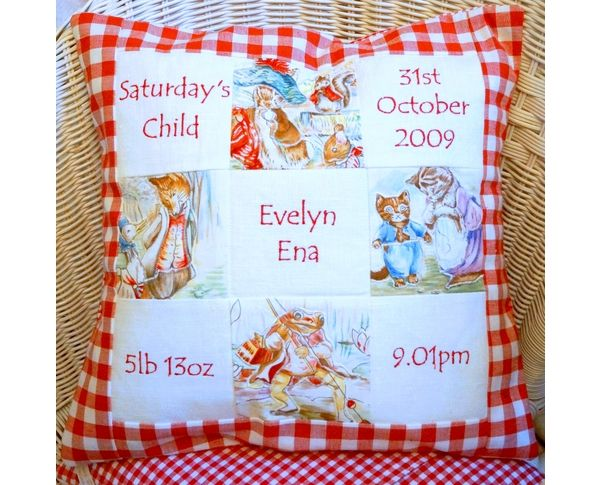 Red Beatrix Potter Memory Cushion by Tuppenny House Designs