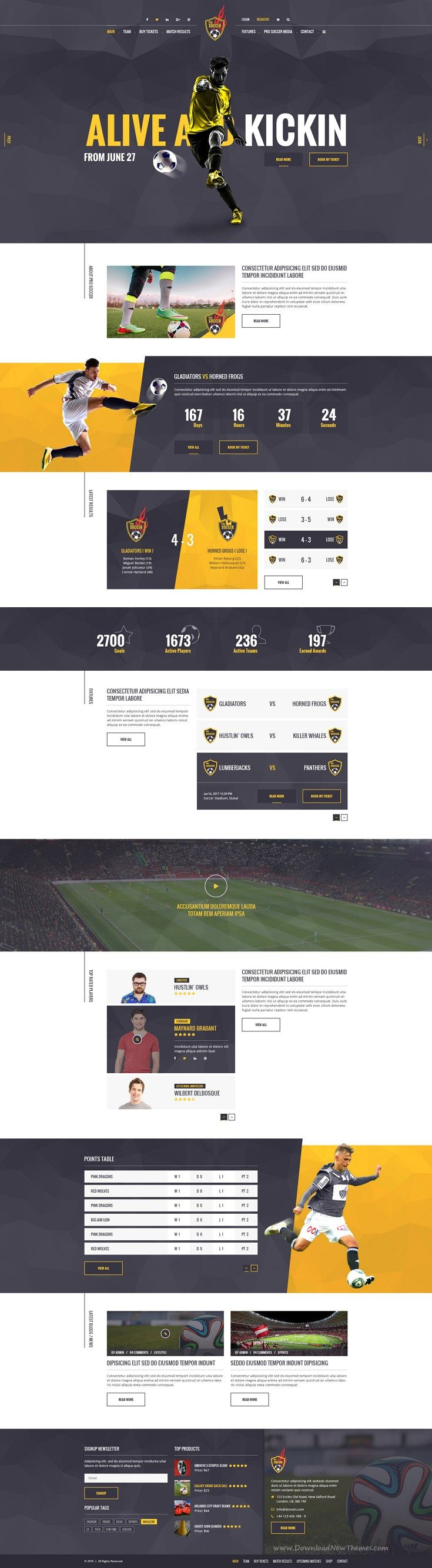 Soccer Acumen is a modern and creative PSD template specifically designed for #Soccer and #Football #clubs, but could also be used for any other sports club or sports event #website. Download Now!