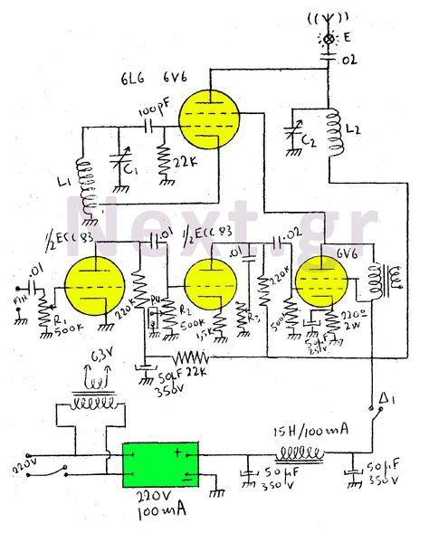 5W Valve RF Transmitter circuit | Radio Vacuum Tube Schematics in