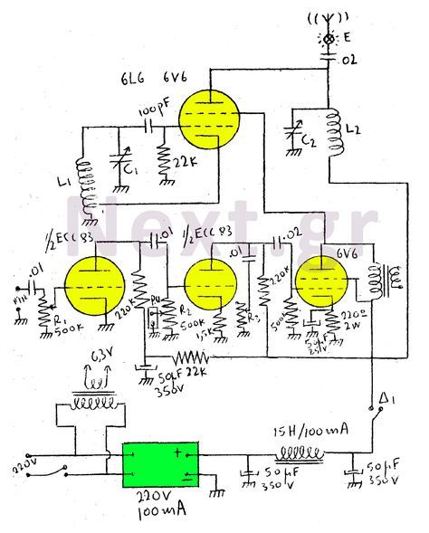 5w valve rf transmitter circuit radio vacuum tube schematics