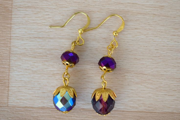Dark Purple Earrings - Sparkly Drop Earrings - Czech Glass Jewelry - Purple Gold Earring - Bridal Earrings Gold - Wedding Jewellery by SkadiJewelry on Etsy  These earrings are new in my Etsy shop. Very gorgeous earring pair for wedding or other spaecial occassion.