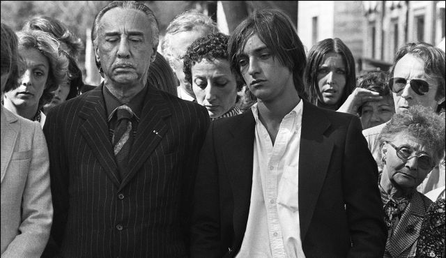 Romain Gary and his son Alexandre Diego Gary at the funeral of his second wife, Jean Seberg in Sept 79 by suicide. Sadly a year later, Dec 80, Alexandre would lose his father Romain to suicide as well.