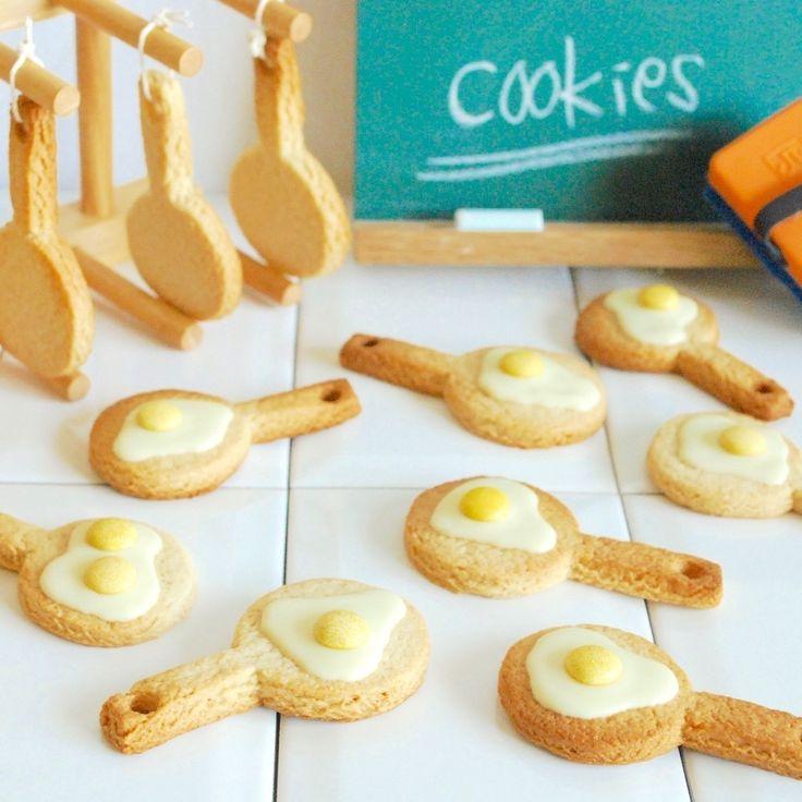 こんにちは〜(^0^) 先日作った創作クッキーの作り方を明記します! このフライパンの形のクッキーは、なんと別府乳パックで型を作っています! 大きさも自由自在に作れてオススメです。 ではレシピです。