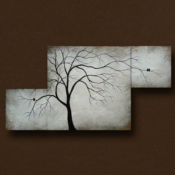 Multiple Canvas Painting of Abstract Tree w Birds by BrittsFineArt, $325.00