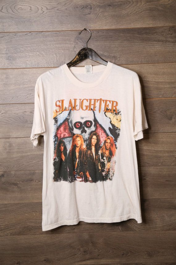 Hey, I found this really awesome Etsy listing at https://www.etsy.com/uk/listing/290831551/vintage-slaughter-band-tee