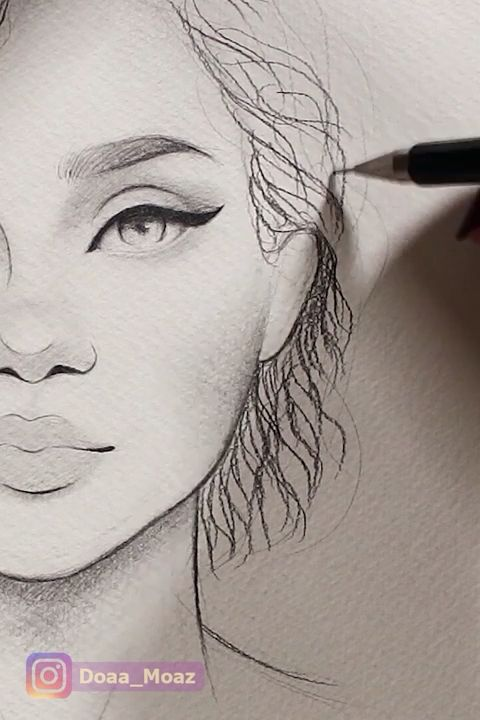 Curly Hair Drawing 😍
