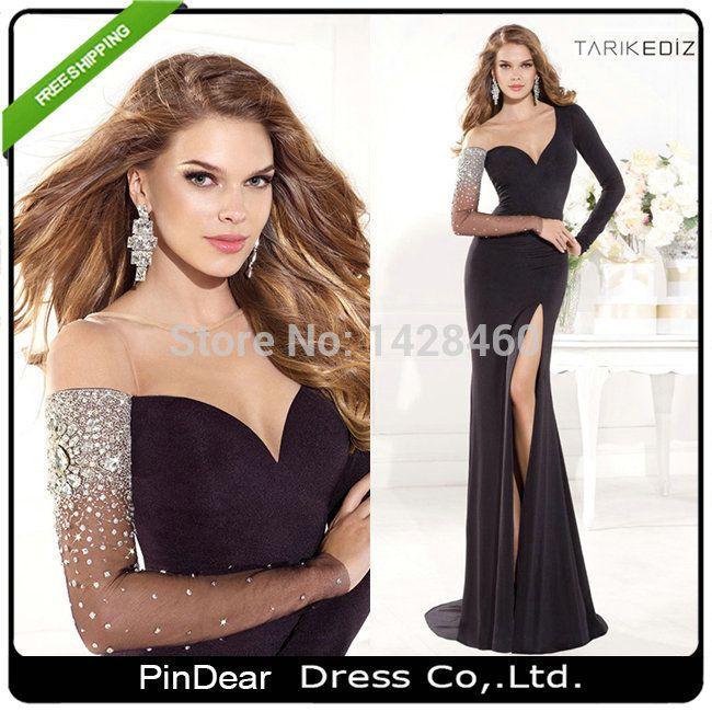 2015 эластичная ткань спандекс бисера черный длинные рукава вечернее платье 2015 тарик Ediz вечернее платье vestido formatura ( PD-E15 )
