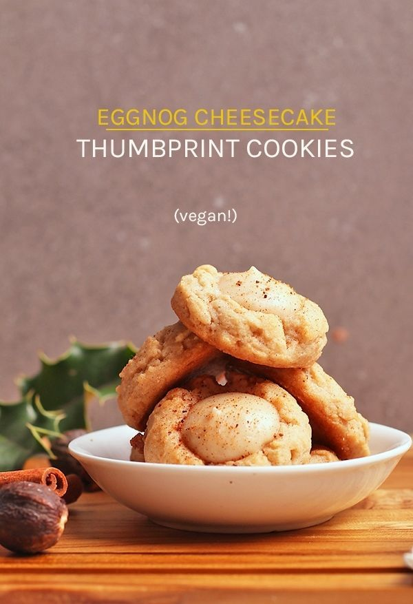 Eggnog Cheesecake Thumbprints Vegan Christmas Cookies Vegan Christmas Cookies Recipes Vegan Food Gifts