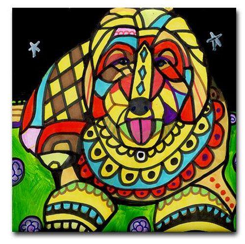 Goldendoodle Art Tile Ceramic Coaster by by HeatherGallerArt, $20.00