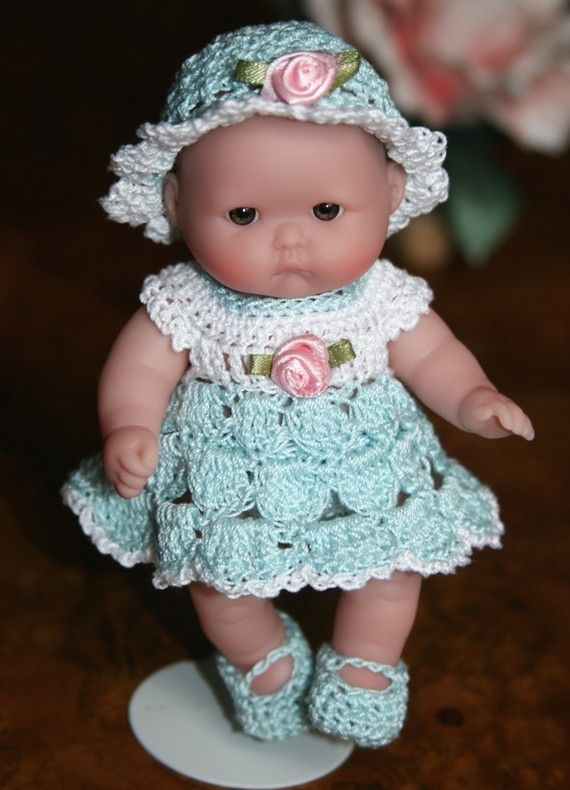 5 Inch Berenguer Doll Clothes for sale | Crochet Baby doll clothes Berenguer 5 inch baby Shell Dress Set Sea ...