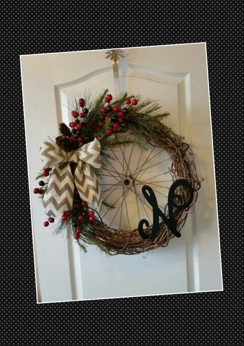Bicycle rim wreath-my creation :)