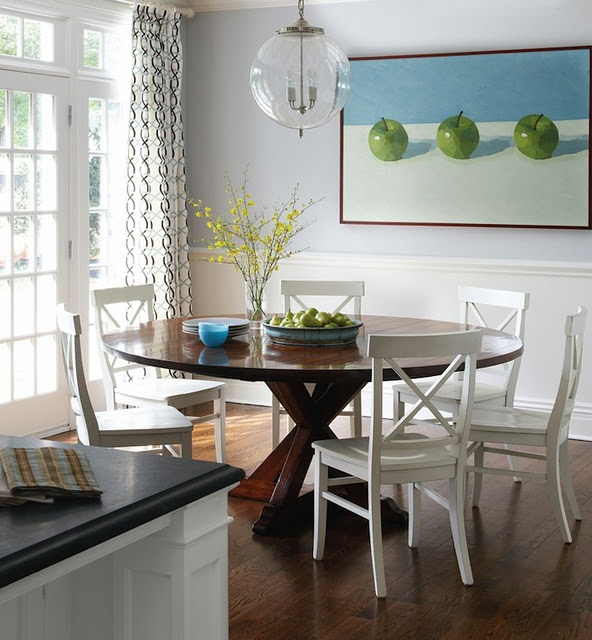 Love the round table  Green Apple Dining Area with blue gray walls  circles  curtains  dark round wood table and white x back chairs   Greenwich Home by  Muse  14 best Round table and chairs images on Pinterest   Round tables  . Arlington Round Sienna Pedestal Dining Room Table W Chestnut Finish. Home Design Ideas