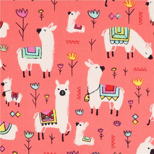 coral red alpaca animal fabric Timeless Treasures USA 1