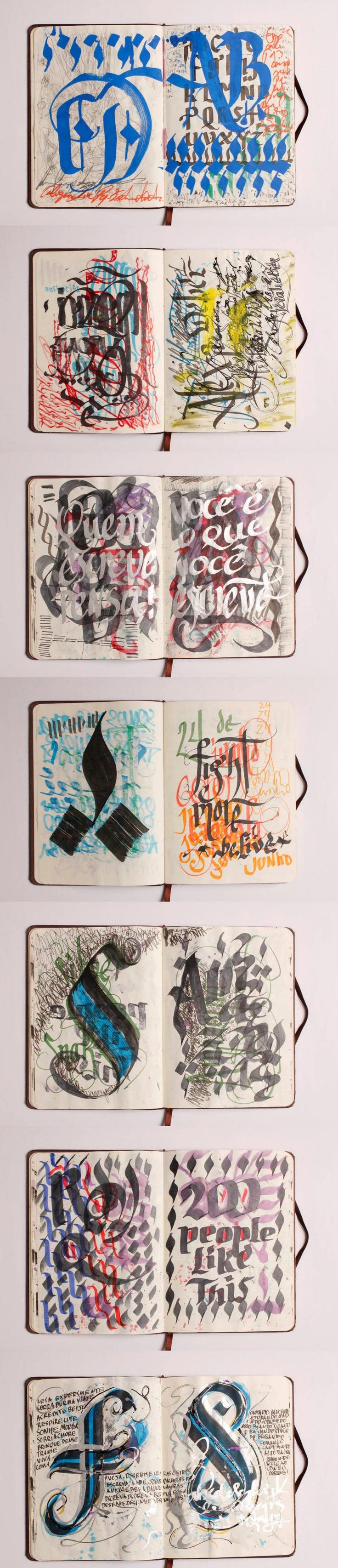 exemplos de roughs de tipos, misturando idade média e caligrafia árabe
