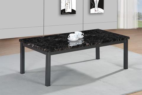 MDF Coffee Table in Black Brown Cream Metal legs