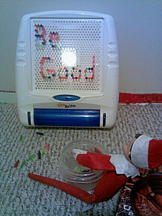 One of our Elf on The Shelf ideas last year.