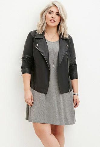 8398fb9c6bb Plus Size Faux Leather Moto Jacket