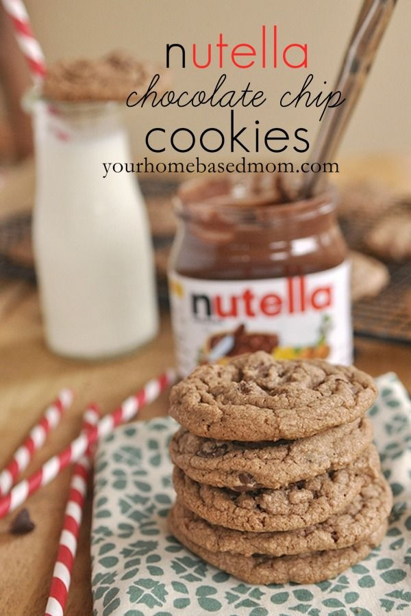 Chocolate Chip Nutella Cookies @yourhomebasedmom.com  #cookies,#recipes,#nutella