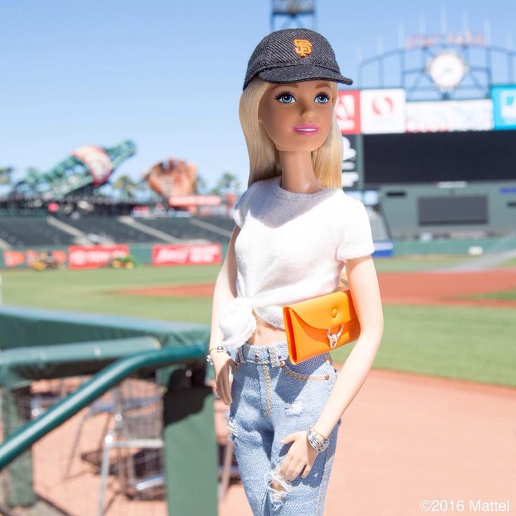 Take me out to the ball game! Spending time in the @sfgiants dugout before today's game. ⚾️ #SFGiants #barbie #barbiestyle