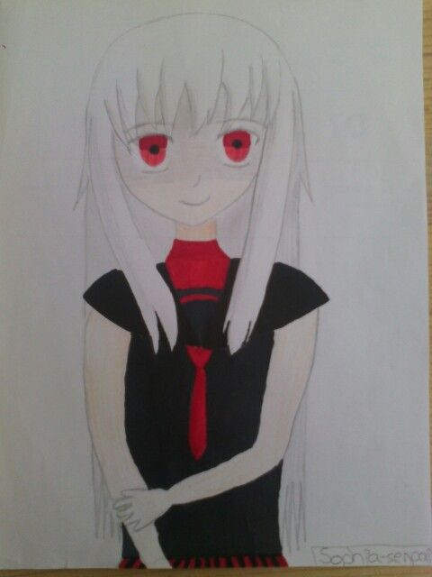#Anime #Girl #white #hair #red #eyes #Draw  By Sophia- senpai