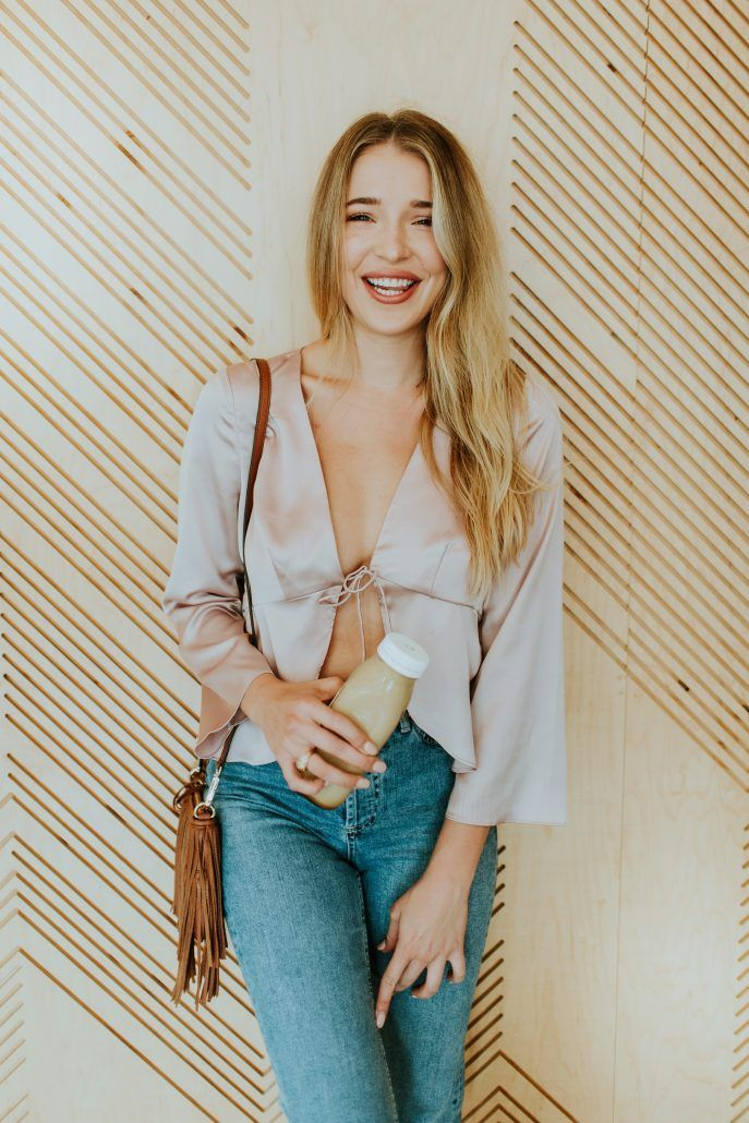 Blogger Payton Sartain of Hustle + Halcyon in Nasty Gal Tie-Front Blouse for Fall 2016