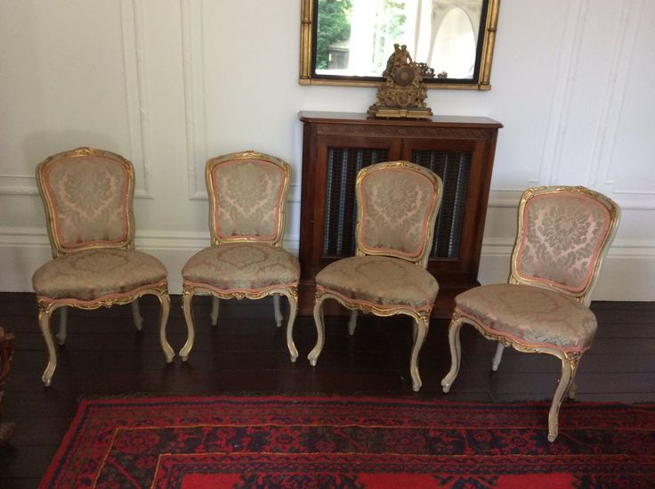 Vintage set of four chairs Rococo French Louis Victorian Antique pink grey silk