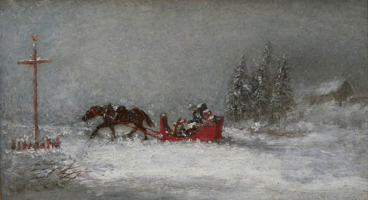 'Stormy Weather' by Cornelius Krieghoff  oil on panel, 1855  at Mayberry Fine Art