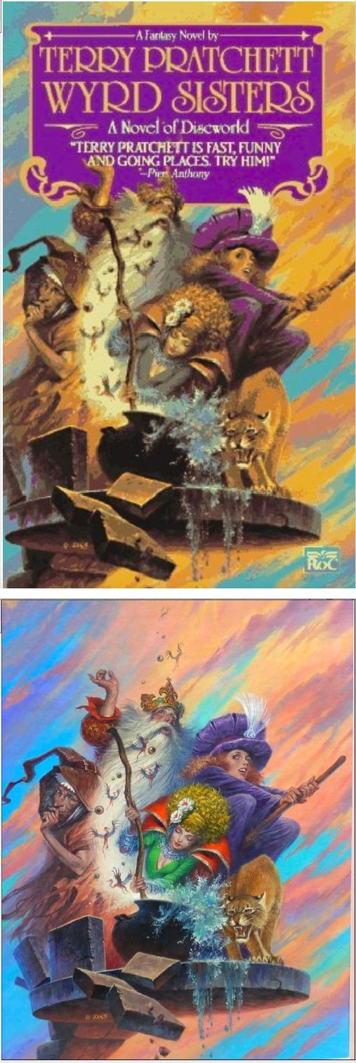 DARRELL K. SWEET - Wyrd Sisters by Terry Pratchett - 1990 Roc / New American Library - cover by isfdb - print by google