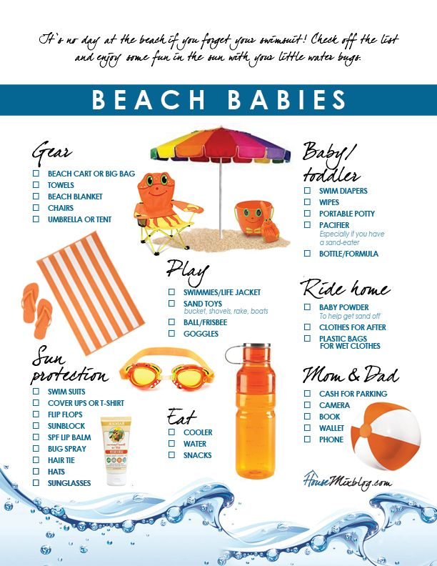 Free printable vacation beach pack list for kids. Check off the list and enjoy some fun in the sun with your little water bugs! Kids beach checklist. Beach with kids.