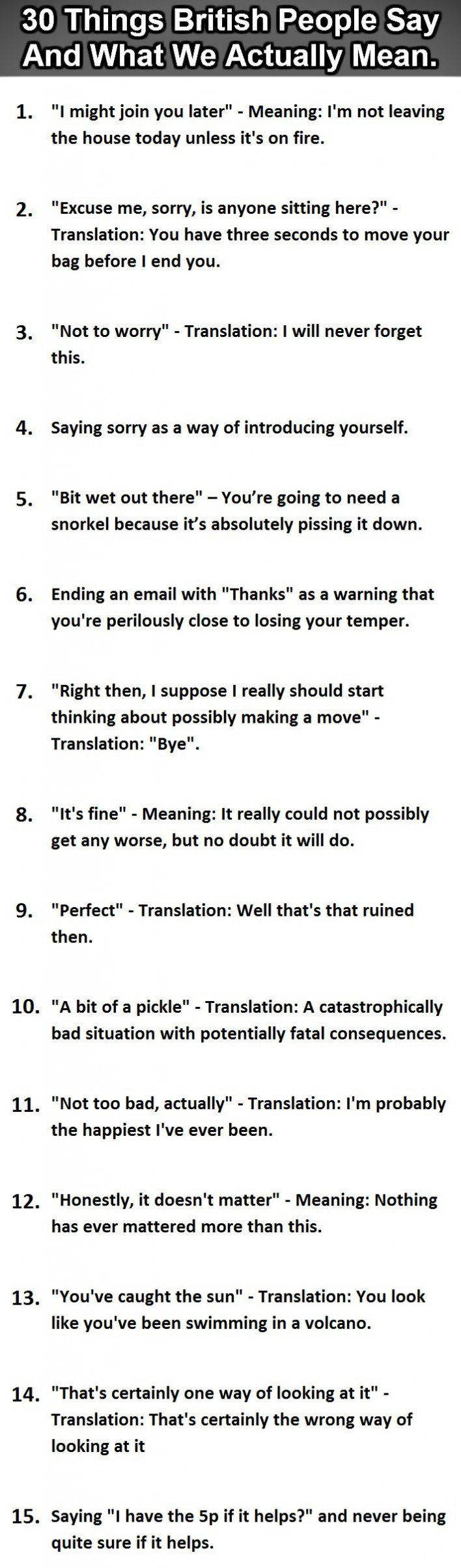 Brit Humour: 30 Things British People Say Vs What They Actually Mean - Graphic (Part 1)