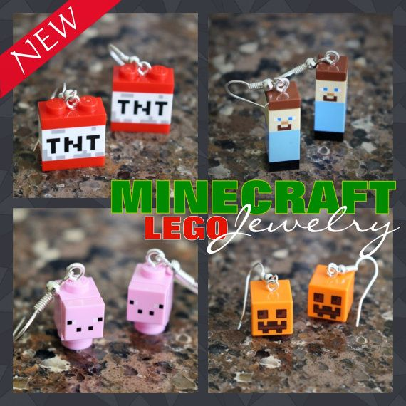 NEW!! Lego Minecraft earrings made with genuine Lego parts.