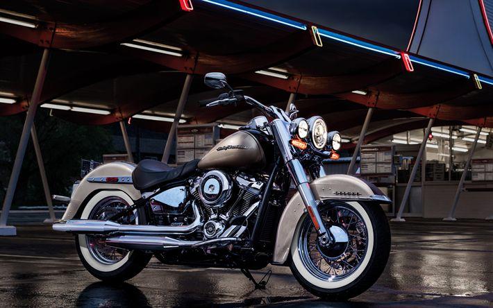 Hämta bilder Harley-Davidson Softail Deluxe, 2018 cyklar, inställda tåg, amerikanska motorcyklar, Harley-Davidson