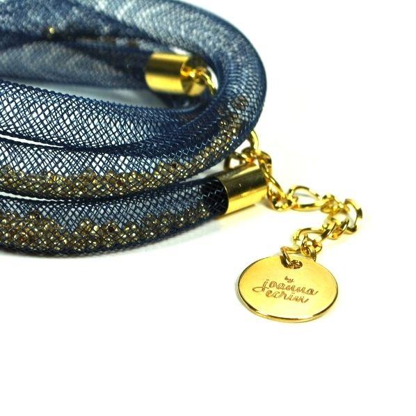 Bransoletka granatowa ze złotymi kuleczkami w féminité by joanna ecrin na DaWanda.com