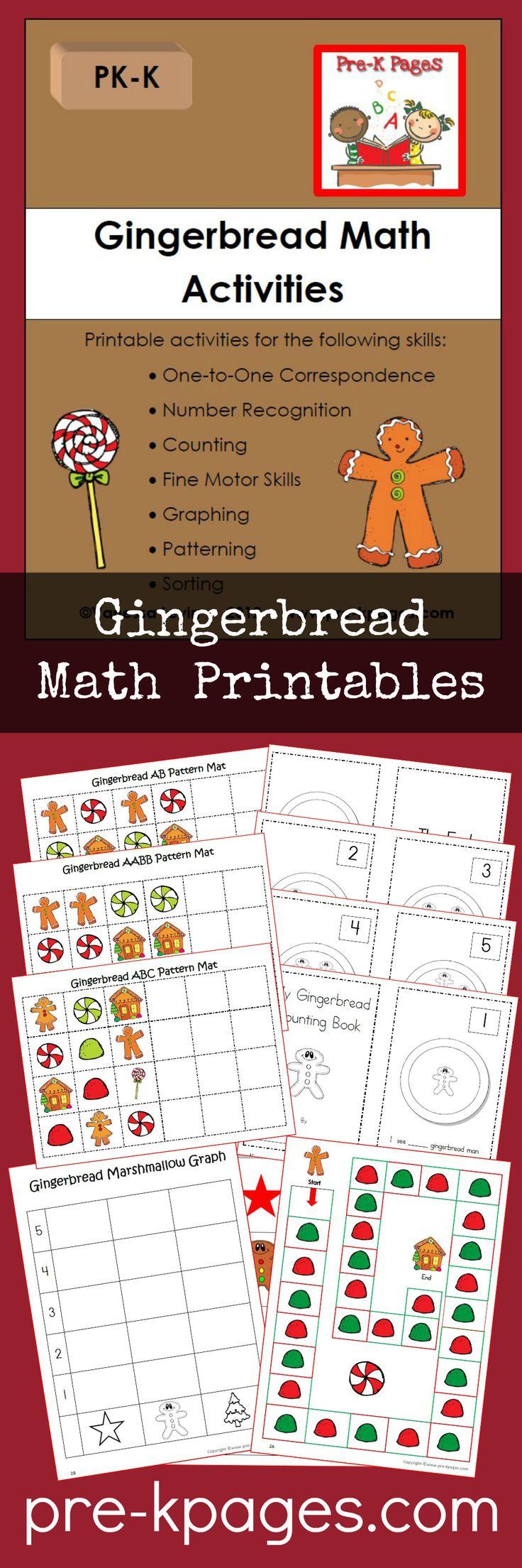 Printable Gingerbread Math Activities for Preschool and Kindergarten