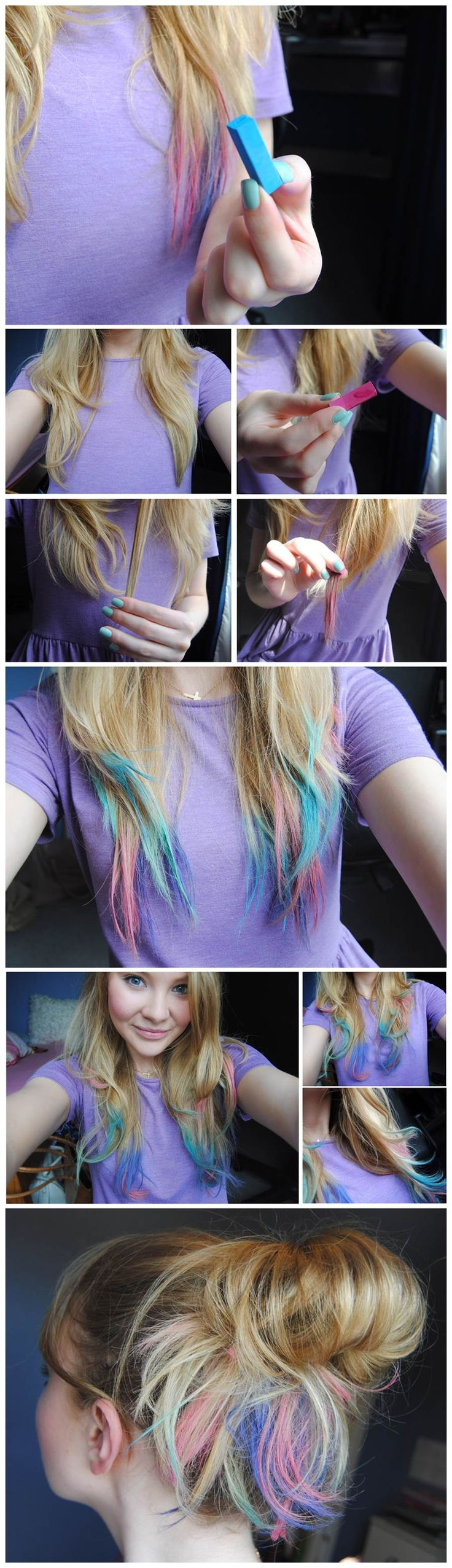 Hair Chalk – Como fazer mechas coloridas no cabelo passo a passo foto tutorial CABELOS LOIROS