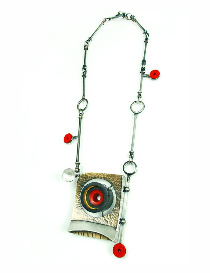 "Lisa & Scott Cylinder Cyclops Necklace, 2015, Bronze, sterling silver, nickle silver, vintage clarinet parts, epoxy resin, felt, stainless steel, 23ky gold leaf, paint, 3.5 x 2.5 x 1"" pendant- 20"" necklace"