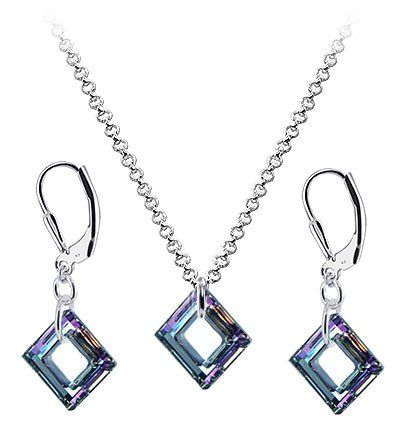 Sterling Silver Vitrail Crystal Pendant Earrings 1mm Rolo Chain Necklace Jewelry Set Made with Swarovski Elements:Disclosure: Affiliate link $53,99